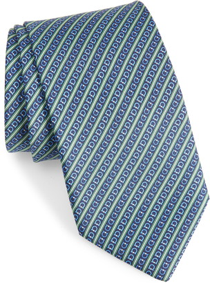 Salvatore Ferragamo Gancio Stripe Silk Tie