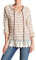 Blu Pepper Striped Knit & Lace Hem Hooded Sweater