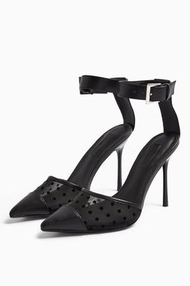 Topshop Womens Fern Black Mesh Ankle Strap Shoes - Black