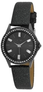 Bob Mackie Women's Black Alloy Strap Baguette Stone Bezel Watch, 30mm