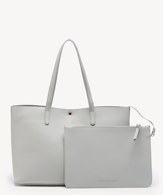 Sole Society Women's Zeda Tote Vegan Light Grey Vegan Leather From