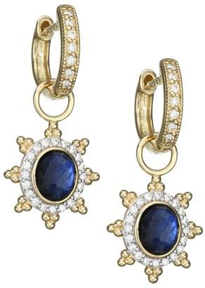 Jude Frances Provence 18K Yellow Gold, Gemstone Doublet & Pave Diamond Sunburst Earring Charms