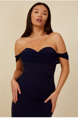 Little Mistress Bridesmaid Rafaela Navy Bardot Maxi Dress