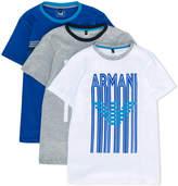 Armani Junior graphic logo print set of three T-shirts