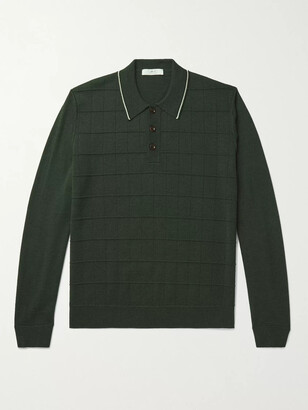 Mr P. Slim-Fit Contrast-Tipped Textured Merino Wool Polo Shirt
