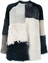 P.A.R.O.S.H. colour block fur jacket