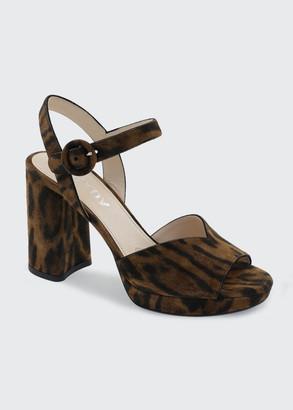 Prada 95mm Leopard-Print Strap Sandals
