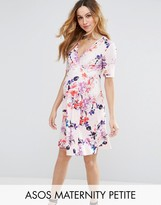 ASOS Maternity - Nursing ASOS Maternity PETITE NURSING Mini Tea Dress in Pink Base Floral