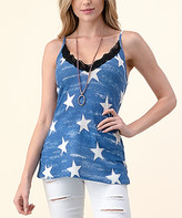Blumin Women's Tank Tops Blue - Blue & White Star Lace-Trim Camisole - Women & Plus