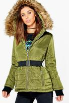 Boohoo Petite Sophie Quilted Jacket With Faux Fur Hood khaki