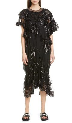 Simone Rocha Sequin Ruffle Hem Midi Dress