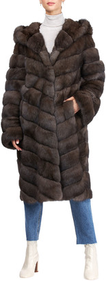 Gorski Chevron Russian Sable Hooded Coat with Zip-Off Sleeves