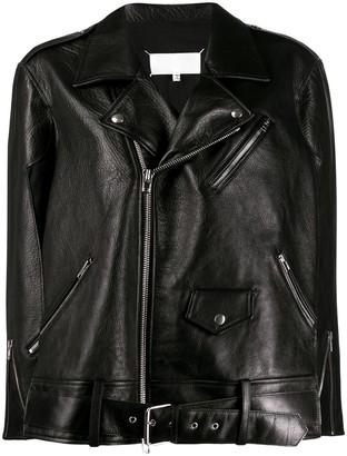 Maison Margiela oversized leather biker jacket
