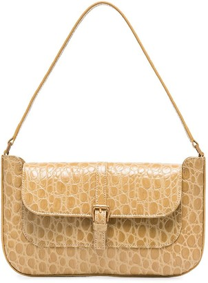 BY FAR Miranda crocodile embossed shoulder bag