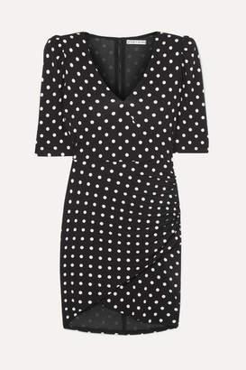 Alice + Olivia Judy Ruched Polka-dot Stretch-jersey Mini Dress - Black