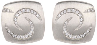 Breuning Sterling Silver Cushion Shaped Stud Earrings