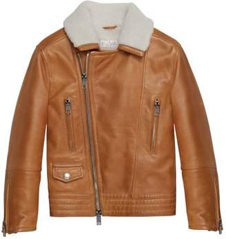 Brunello Cucinelli Shearling-Trim Leather Jacket