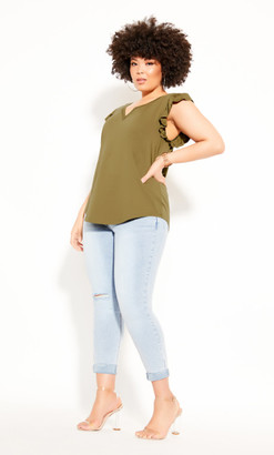 City Chic Top Leisure Frill