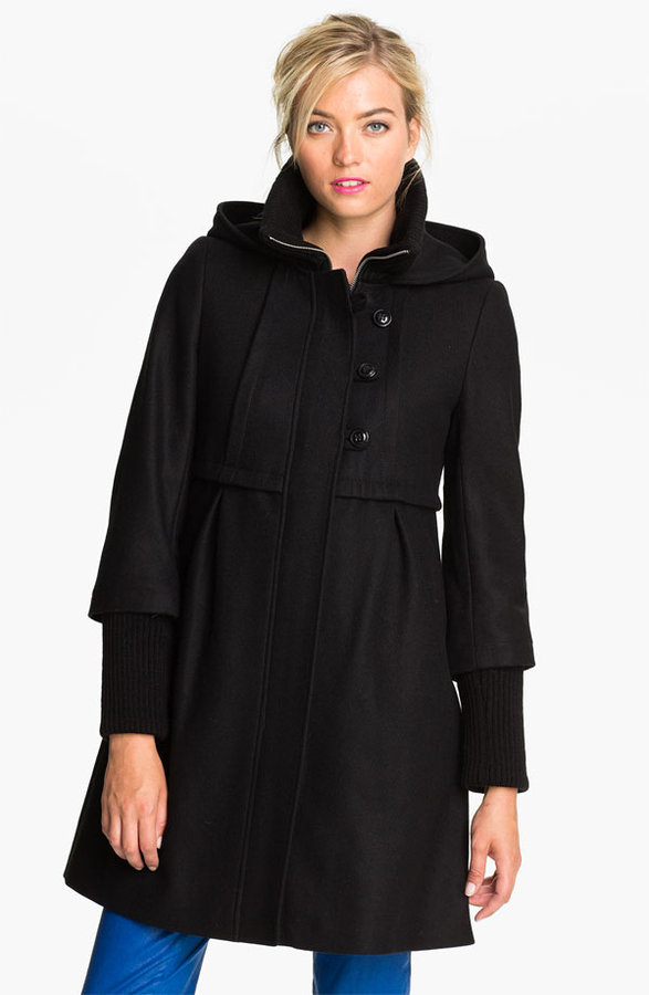 DKNY 'Bethany' Knit Inset Wool Blend Coat
