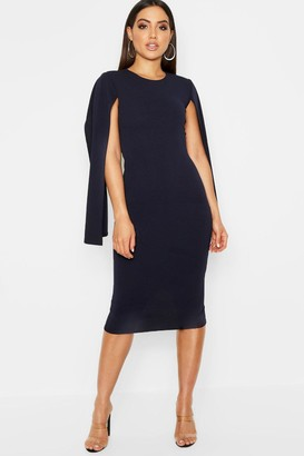 boohoo Cape Sleeve Bodycon Midi Dress