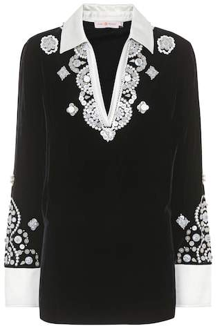 Tory Burch Hadley velvet embellished top