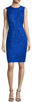 Carmen Marc Valvo Sleeveless Floral Jacquard Cocktail Dress, Cobalt