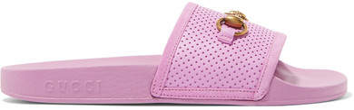 Gucci Horsebit-detailed Perforated Rubber Slides - Lilac