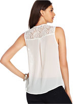 Amy Byer Juniors Top, Sleeveless Lace Studded High-Low