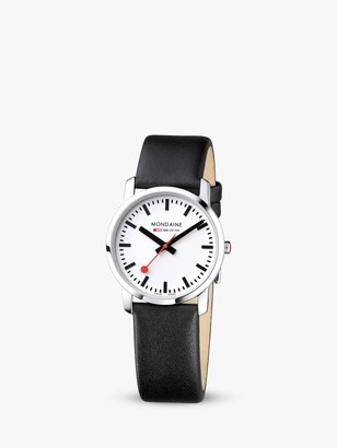 Mondaine Unisex Simply Elegant Leather Strap Watch
