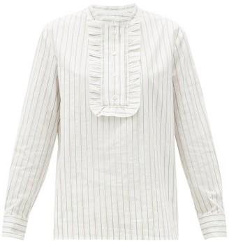 A.P.C. Madeline Ruffled-bib Striped Cotton Shirt - White Multi