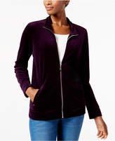 Karen Scott Petite Mock-Neck Jacket, Created for Macy's