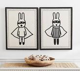 Pottery Barn Kids Emily & Meritt Linen & Crewel Bandit Art - Stripe