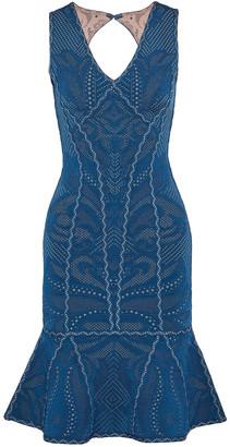 Herve Leger Fluted Cutout Pointelle-knit Dress