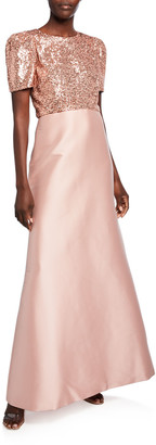 Sachin + Babi Margot Sequin Bodice Short-Sleeve Twill Skirt A-Line Gown