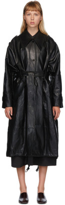 Low Classic Black Faux-Leather Trench Coat