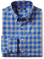 Lands' End Men's Traditional Fit Lightweight Cotton Shirt-Light Blue Horizontal Stripe