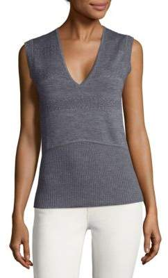 Derek Lam V-Neck Rib-Knit Top