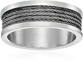 Amazon Collection Men's Stainless Steel 7.0 mm Hammered Design Plain Wedding Band, Size 6