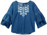 My Michelle mymichelle Embroidered Bell Sleeve Denim Top (Big Girls)