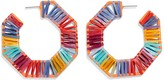 BaubleBar Reinette Colorful Raffia 67mm Hoop Eattings