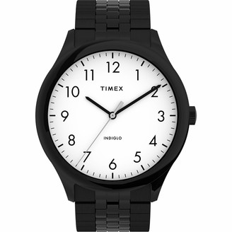 Timex Men's Modern Easy Reader 40mm Watch Black Case White Dial with Expansion Band
