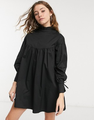 Glamorous mini tiered smock dress with neck tie in black cotton