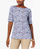 Karen Scott Cotton Seashell-Print Top, Created for Macy's