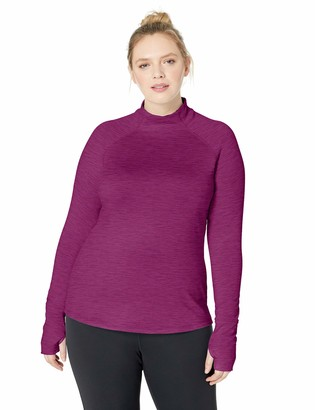 Core 10 Amazon Brand Women's Standard Be Warm Brushed Thermal Fitted Mock Long Sleeve