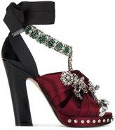 No.21 Crystal embellished satin bow sandals