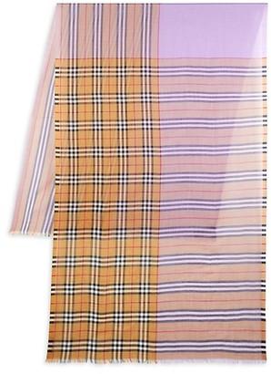 Burberry Wool Silk Check Scarf