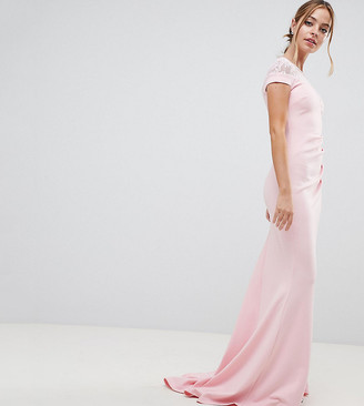 City Goddess petite Fishtail Maxi Dress With Lace Detail