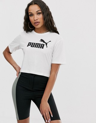 Puma Essentials white cropped logo t-shirt