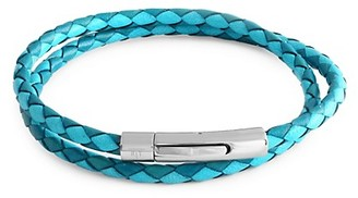 Tateossian Stainless Steel Leather Wrap Bracelet