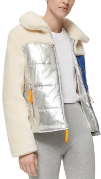 Andrew Marc Mixed-Media Fleece Puffer Coat